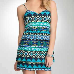 BEBE dress tieded skirted blue green aztec print L